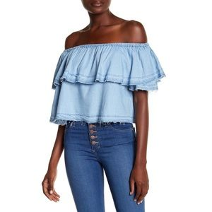 Pistola Sofia Off-the-Shoulder Blouse in Chambray